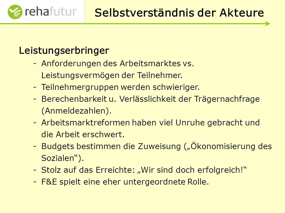 Selbstverständnis der Akteure Leistungserbringer -Anforderungen des Arbeitsmarktes vs.