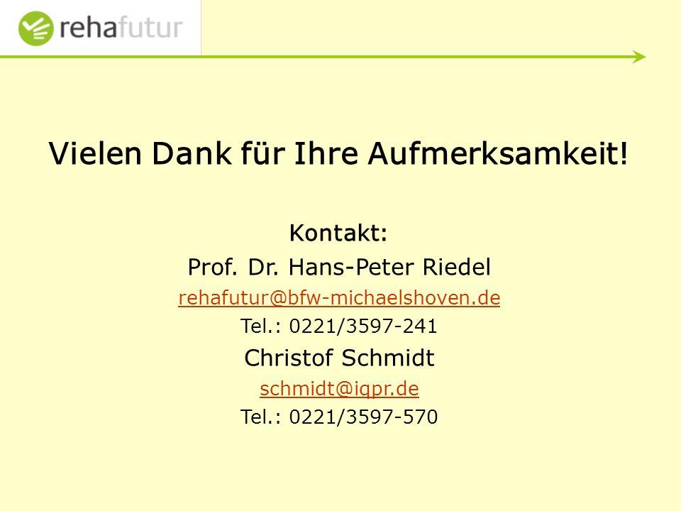 Vielen Dank für Ihre Aufmerksamkeit.Kontakt: Prof.