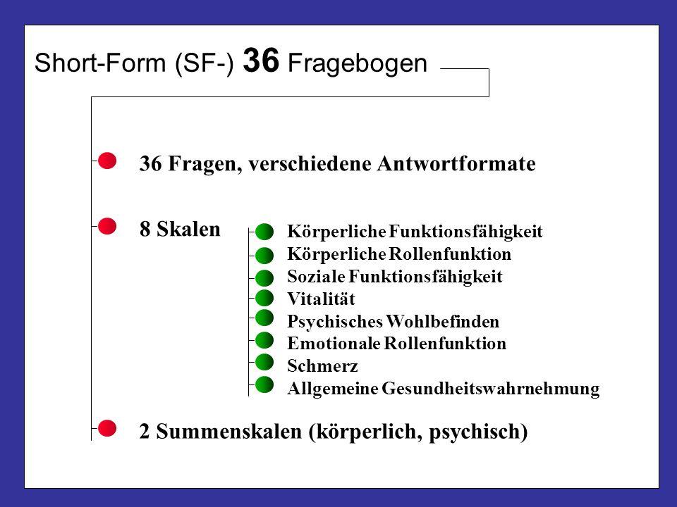 Short-Form (SF-) 36 Fragebogen 36 Fragen, verschiedene Antwortformate 8 Skalen Körperliche Funktionsfähigkeit Körperliche Rollenfunktion Soziale Funkt