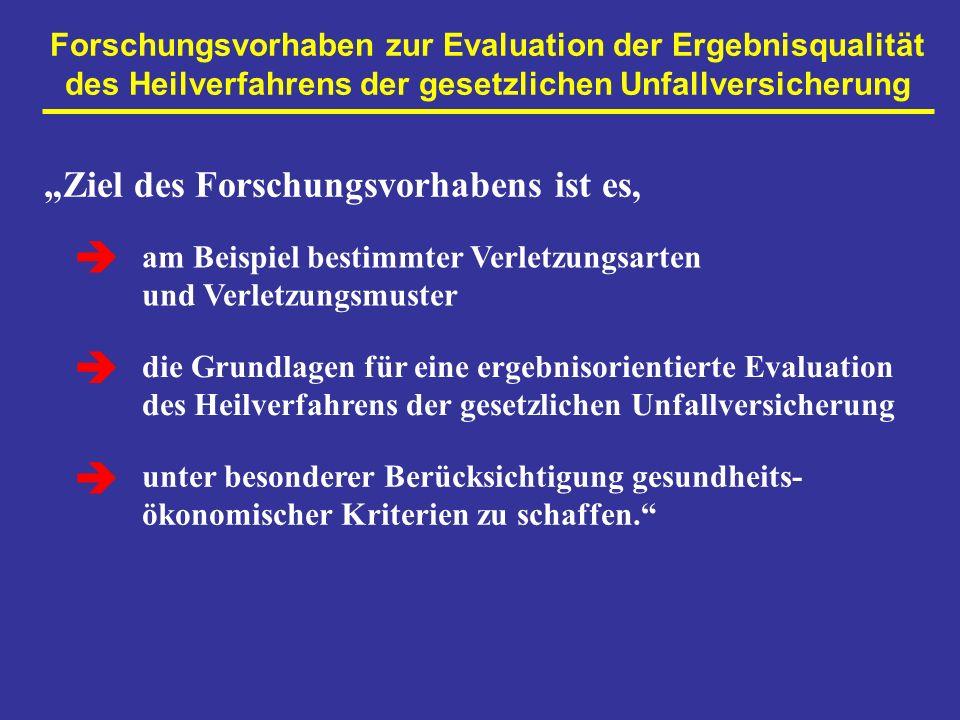 Forschungsvorhaben zur Evaluation der Ergebnisqualität des Heilverfahrens der gesetzlichen Unfallversicherung Ziel des Forschungsvorhabens ist es, am