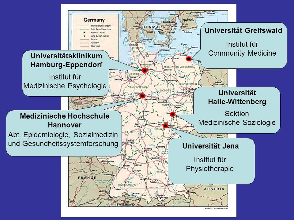 Universität Greifswald Institut für Community Medicine Universität Halle-Wittenberg Sektion Medizinische Soziologie Universität Jena Institut für Phys