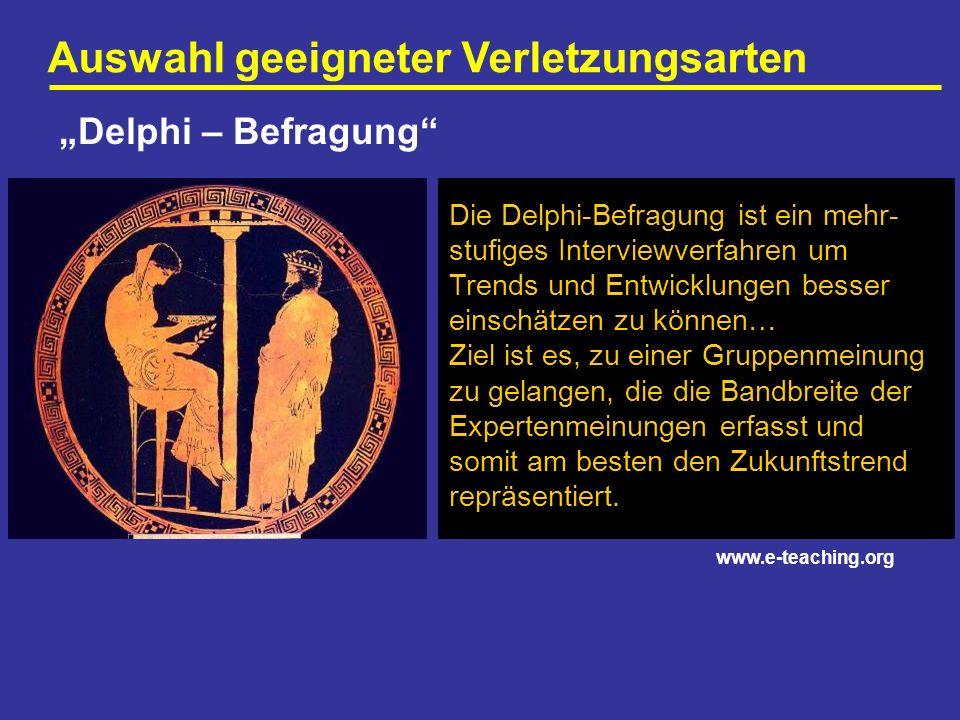 Auswahl geeigneter Verletzungsarten Delphi – Befragung Die Delphi-Befragung ist ein mehr- stufiges Interviewverfahren um Trends und Entwicklungen bess