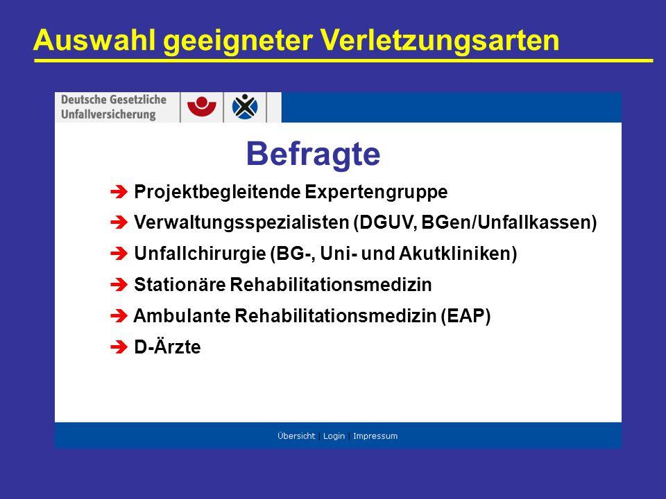 Auswahl geeigneter Verletzungsarten Projektbegleitende Expertengruppe Verwaltungsspezialisten (DGUV, BGen/Unfallkassen) Unfallchirurgie (BG-, Uni- und