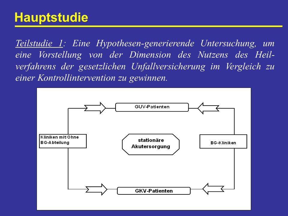 Hauptstudie Teilstudie 1: Eine Hypothesen-generierende Untersuchung, um eine Vorstellung von der Dimension des Nutzens des Heil- verfahrens der gesetz