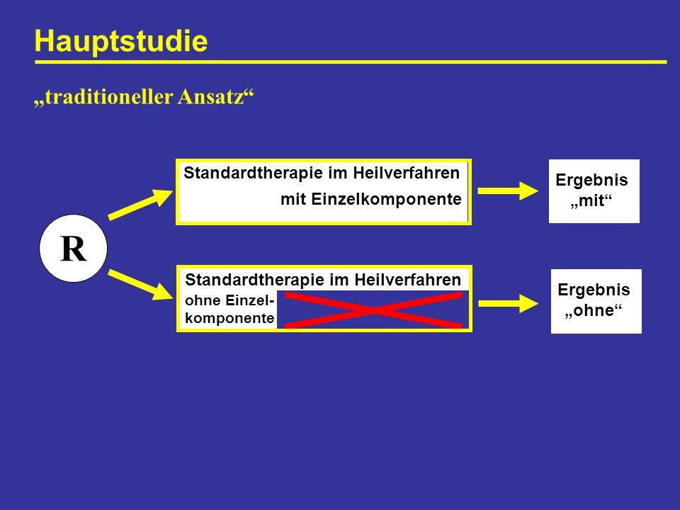 Hauptstudie R Standardtherapie im Heilverfahren mit Einzelkomponente Standardtherapie im Heilverfahren ohne Einzel- komponente traditioneller Ansatz E