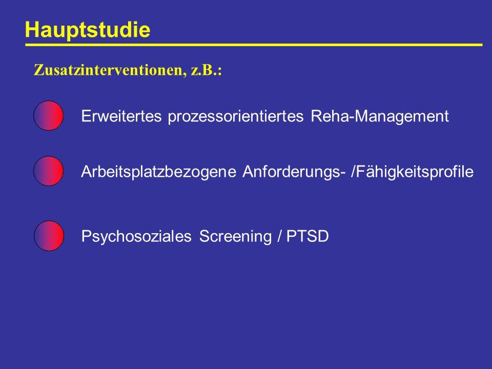 Hauptstudie Erweitertes prozessorientiertes Reha-Management Zusatzinterventionen, z.B.: Arbeitsplatzbezogene Anforderungs- /Fähigkeitsprofile Psychoso