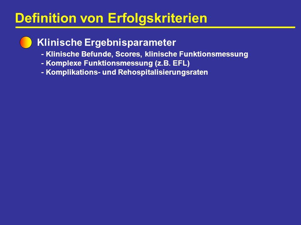 Definition von Erfolgskriterien Klinische Ergebnisparameter - Klinische Befunde, Scores, klinische Funktionsmessung - Komplexe Funktionsmessung (z.B.