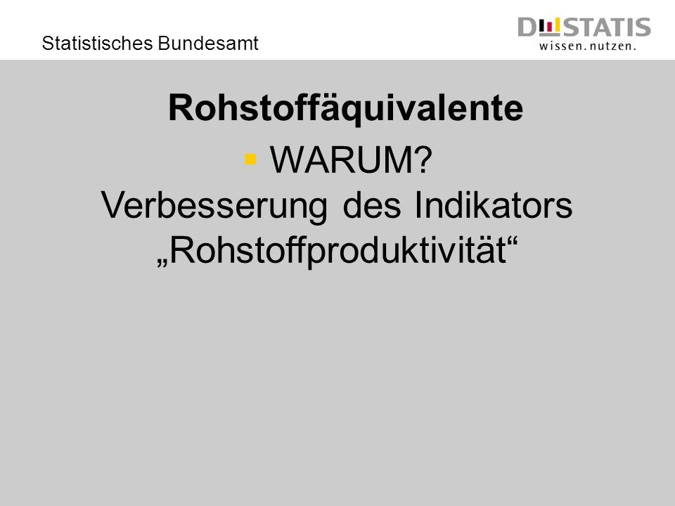 Statistisches Bundesamt Rohstoffäquivalente WARUM? Verbesserung des Indikators Rohstoffproduktivität