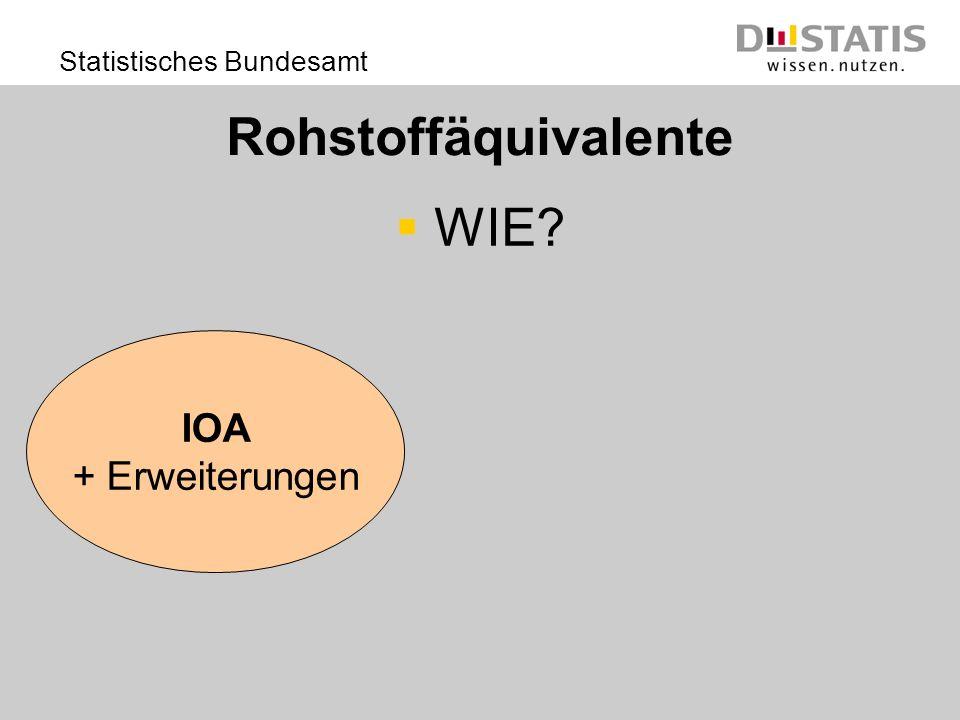 Statistisches Bundesamt Rohstoffäquivalente WIE? IOA + Erweiterungen