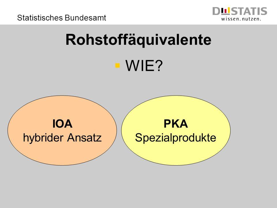 Statistisches Bundesamt Rohstoffäquivalente WIE? PKA Spezialprodukte IOA hybrider Ansatz