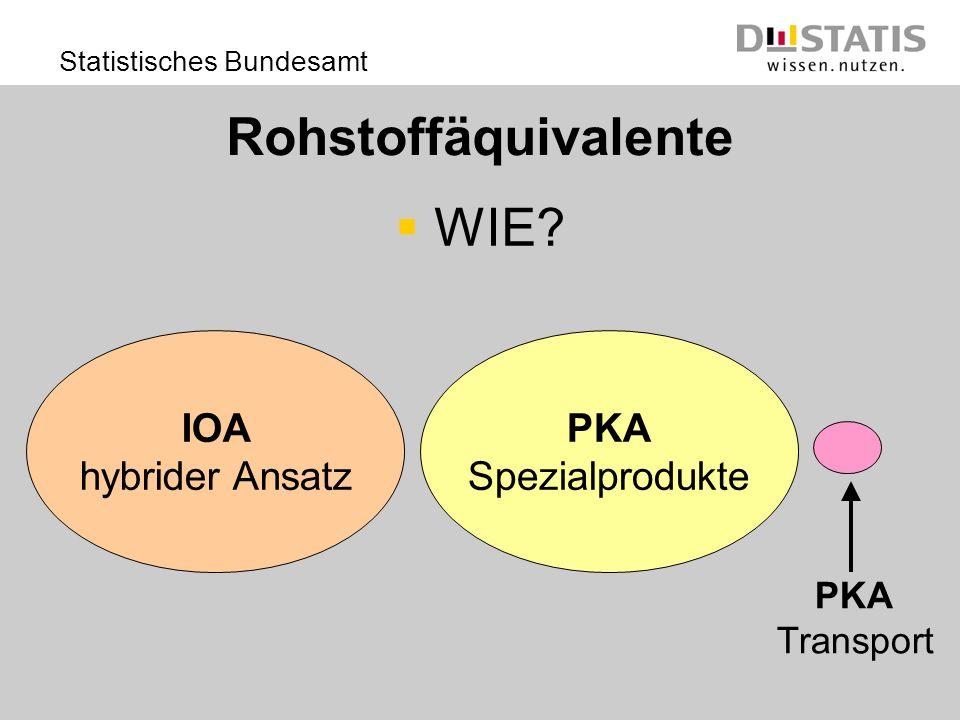 Statistisches Bundesamt Rohstoffäquivalente WIE? PKA Spezialprodukte PKA Transport IOA hybrider Ansatz