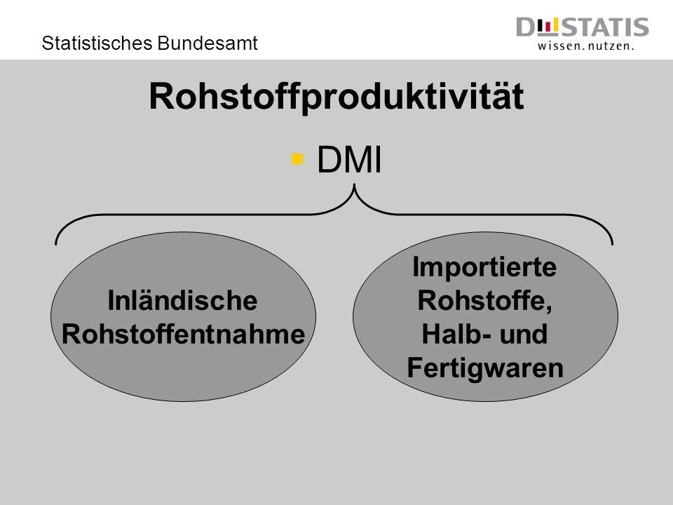 Statistisches Bundesamt Rohstoffproduktivität DMI Inländische Rohstoffentnahme Importierte Rohstoffe, Halb- und Fertigwaren