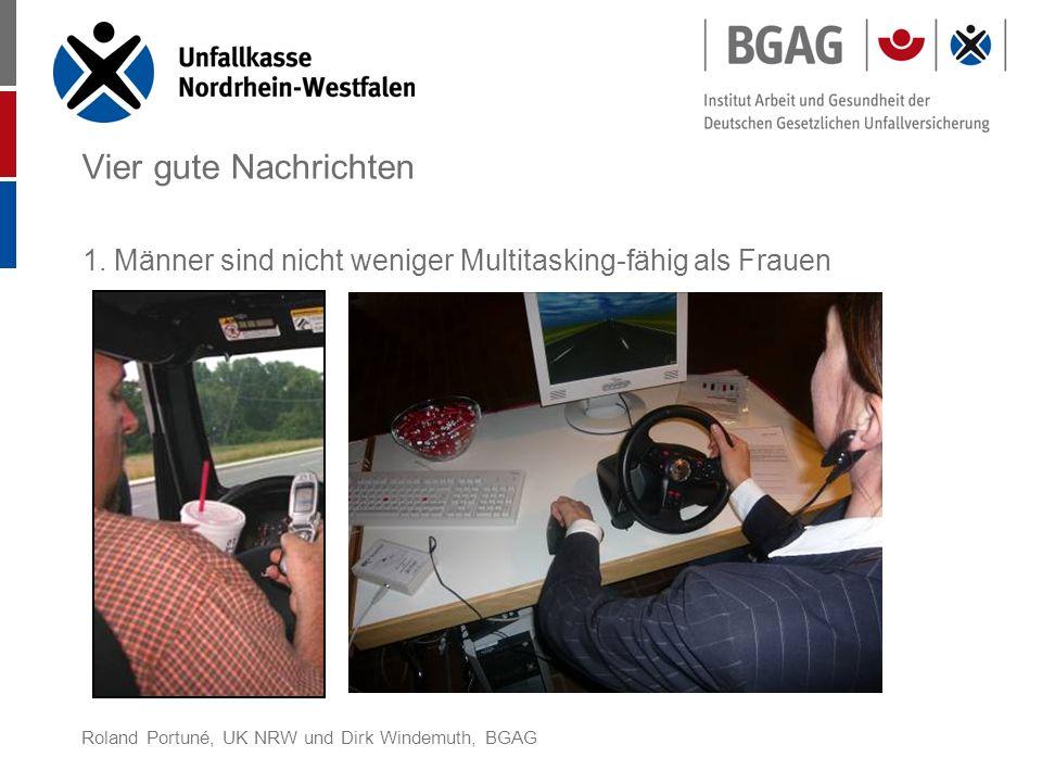 Roland Portuné, UK NRW und Dirk Windemuth, BGAG Vier gute Nachrichten 1. Männer sind nicht weniger Multitasking-fähig als Frauen