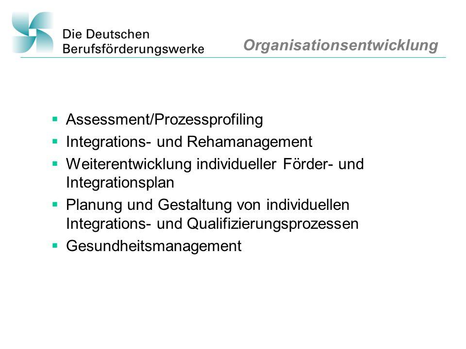 Organisationsentwicklung Assessment/Prozessprofiling Integrations- und Rehamanagement Weiterentwicklung individueller Förder- und Integrationsplan Pla