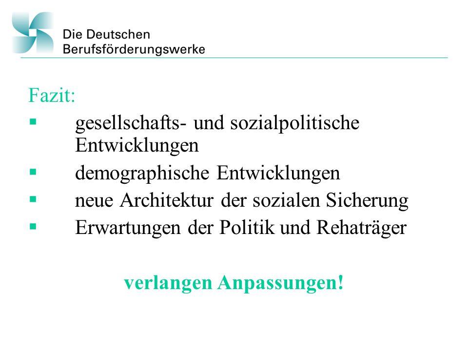 Fazit: gesellschafts- und sozialpolitische Entwicklungen demographische Entwicklungen neue Architektur der sozialen Sicherung Erwartungen der Politik