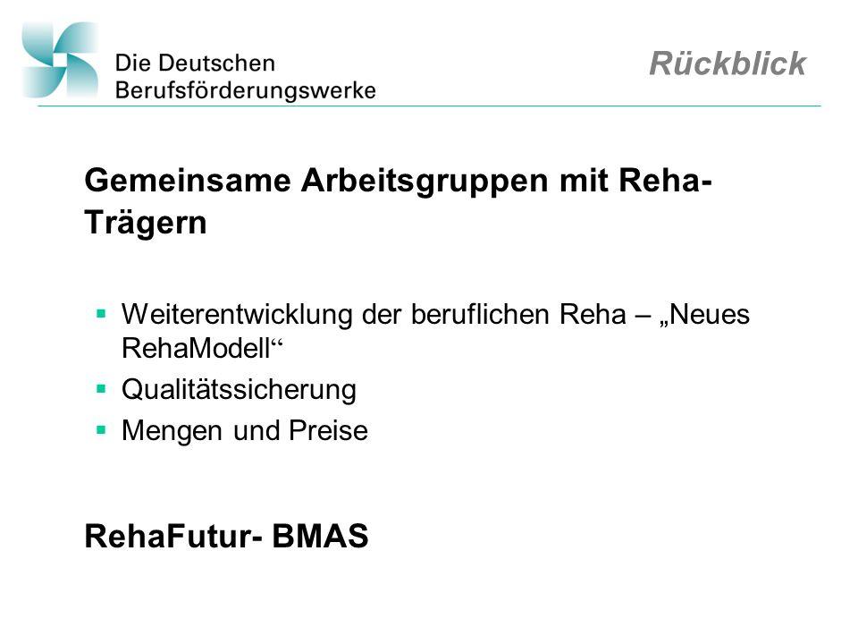 Rückblick Gemeinsame Arbeitsgruppen mit Reha- Trägern Weiterentwicklung der beruflichen Reha – Neues RehaModell Qualitätssicherung Mengen und Preise R