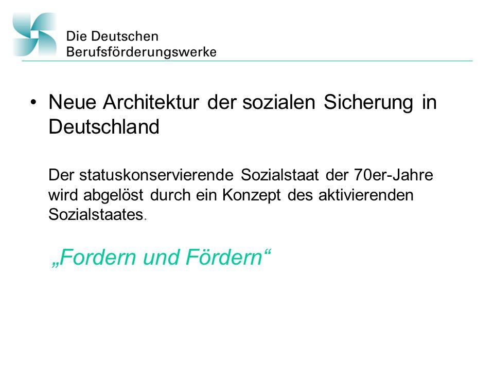 Neue Architektur der sozialen Sicherung in Deutschland Der statuskonservierende Sozialstaat der 70er-Jahre wird abgelöst durch ein Konzept des aktivie