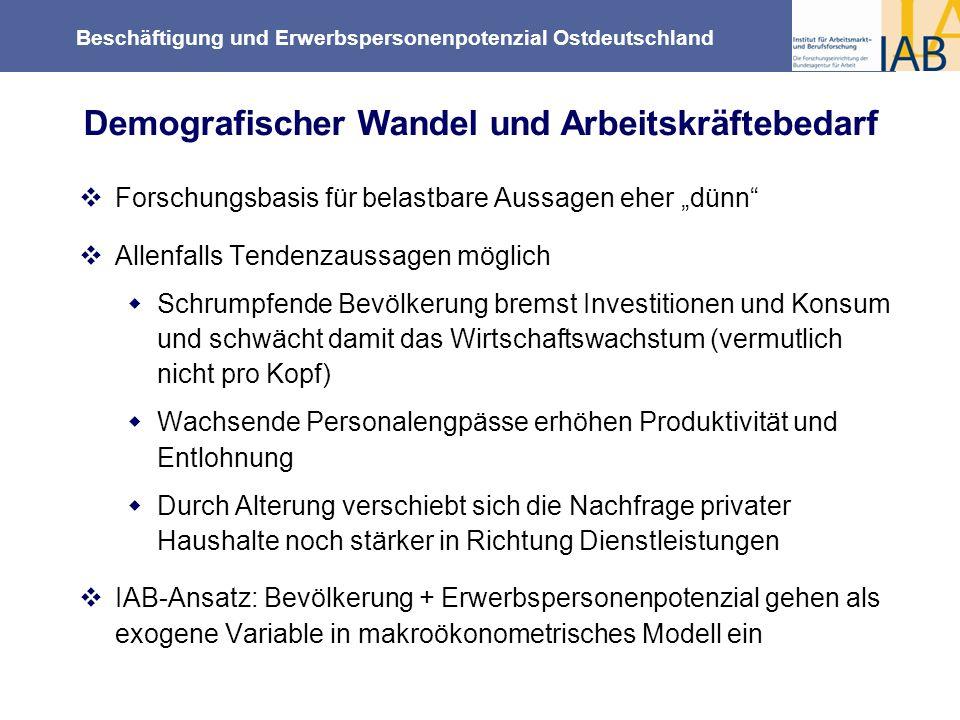 Beschäftigung und Erwerbspersonenpotenzial Ostdeutschland Forschungsbasis für belastbare Aussagen eher dünn Allenfalls Tendenzaussagen möglich Schrump