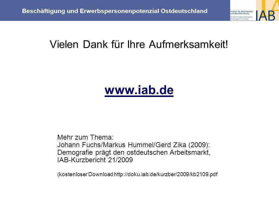 Beschäftigung und Erwerbspersonenpotenzial Ostdeutschland Vielen Dank für Ihre Aufmerksamkeit! www.iab.de Mehr zum Thema: Johann Fuchs/Markus Hummel/G