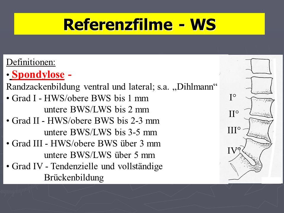 Referenzfilme - WS Definitionen: Spondylose - Randzackenbildung ventral und lateral; s.a. Dihlmann Grad I - HWS/obere BWS bis 1 mm untere BWS/LWS bis