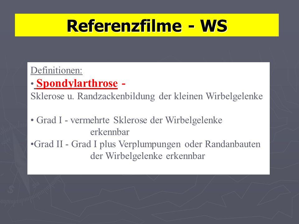 Referenzfilme - WS Definitionen: Spondylarthrose - Sklerose u. Randzackenbildung der kleinen Wirbelgelenke Grad I - vermehrte Sklerose der Wirbelgelen