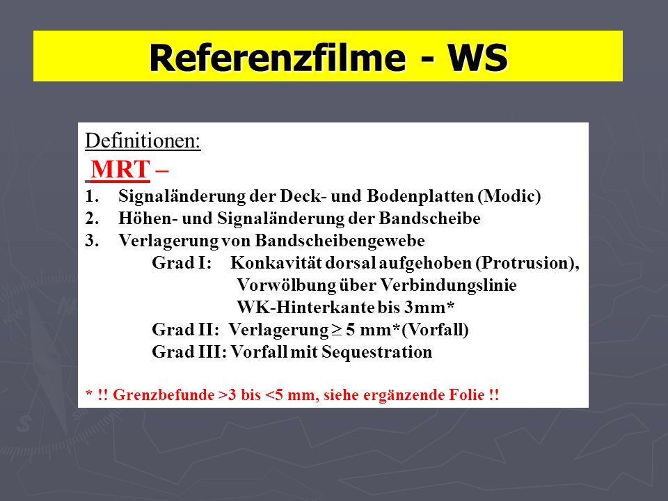 Referenzfilme - WS Definitionen: MRT – 1.Signaländerung der Deck- und Bodenplatten (Modic) 2.Höhen- und Signaländerung der Bandscheibe 3.Verlagerung von Bandscheibengewebe Grad I: Konkavität dorsal aufgehoben (Protrusion), Vorwölbung über Verbindungslinie WK-Hinterkante bis 3mm* Grad II: Verlagerung 5 mm*(Vorfall) Grad III: Vorfall mit Sequestration * !.