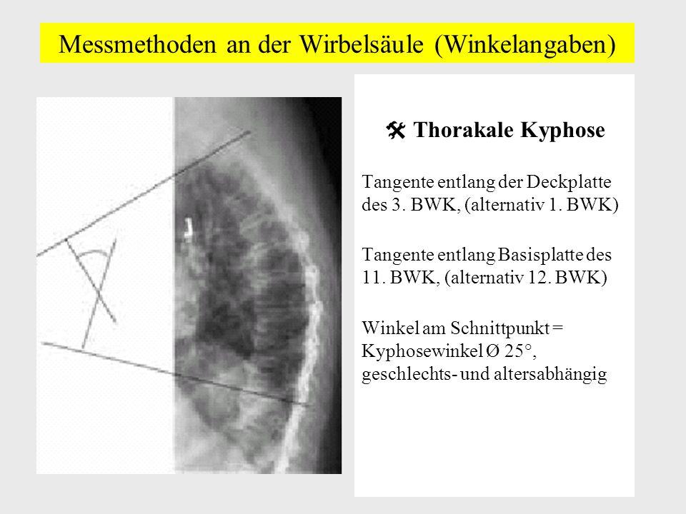 Messmethoden an der Wirbelsäule (Winkelangaben) Thorakale Kyphose Tangente entlang der Deckplatte des 3.
