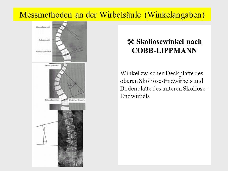 Messmethoden an der Wirbelsäule (Winkelangaben) Skoliosewinkel nach COBB-LIPPMANN Winkel zwischen Deckplatte des oberen Skoliose-Endwirbels und Bodenplatte des unteren Skoliose- Endwirbels