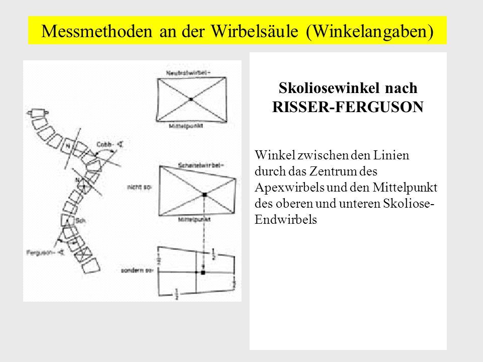 Messmethoden an der Wirbelsäule (Winkelangaben) Skoliosewinkel nach RISSER-FERGUSON Winkel zwischen den Linien durch das Zentrum des Apexwirbels und den Mittelpunkt des oberen und unteren Skoliose- Endwirbels