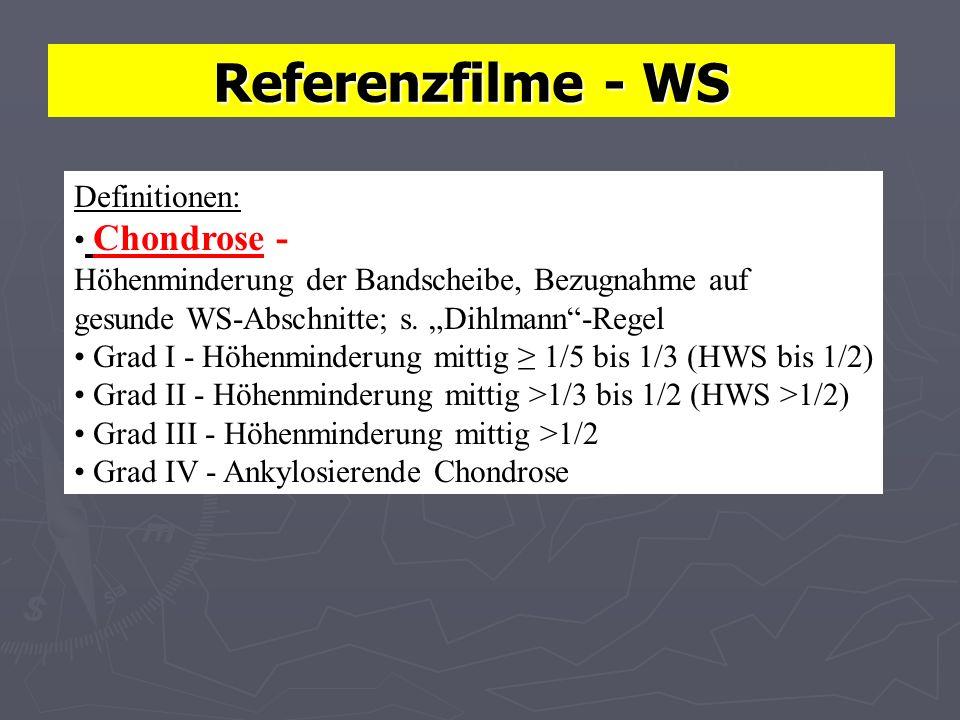 Referenzfilme - WS Definitionen: Chondrose - Höhenminderung der Bandscheibe, Bezugnahme auf gesunde WS-Abschnitte; s.