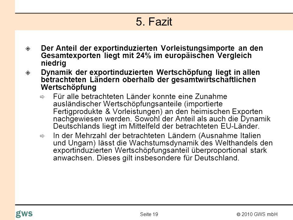 2010 GWS mbH Seite 19 gws 5. Fazit Der Anteil der exportinduzierten Vorleistungsimporte an den Gesamtexporten liegt mit 24% im europäischen Vergleich