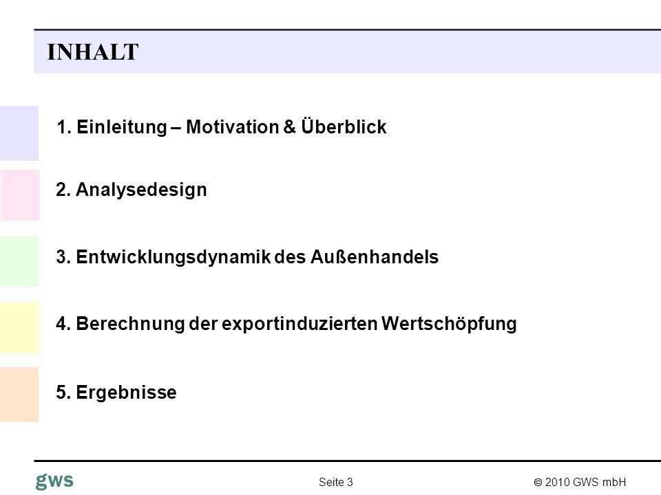 2010 GWS mbH Seite 3 gws 3. Entwicklungsdynamik des Außenhandels INHALT 4. Berechnung der exportinduzierten Wertschöpfung 1. Einleitung – Motivation &