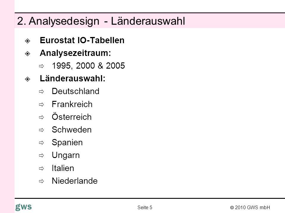 2010 GWS mbH Seite 5 gws 2. Analysedesign - Länderauswahl Eurostat IO-Tabellen Analysezeitraum: 1995, 2000 & 2005 Länderauswahl: Deutschland Frankreic