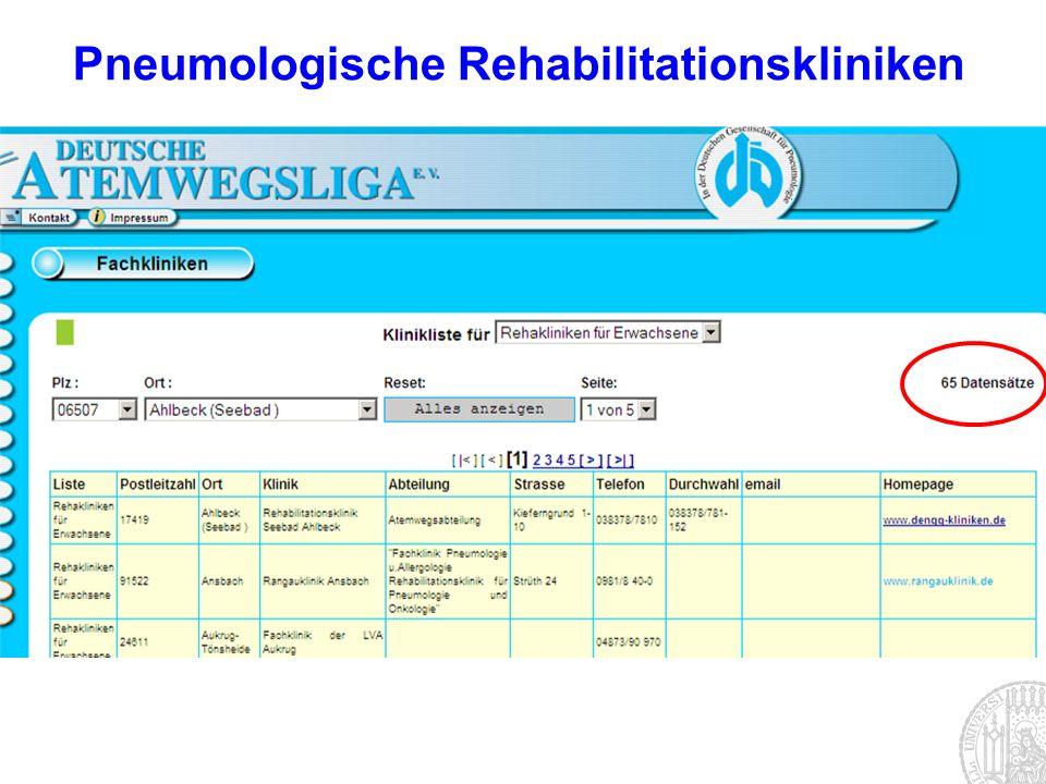 Pneumologische Rehabilitationskliniken