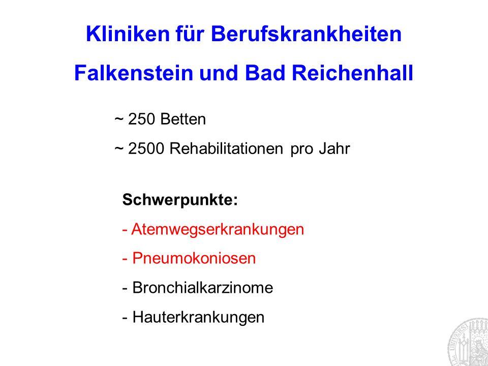 Kliniken für Berufskrankheiten Falkenstein und Bad Reichenhall ~ 250 Betten ~ 2500 Rehabilitationen pro Jahr Schwerpunkte: - Atemwegserkrankungen - Pn