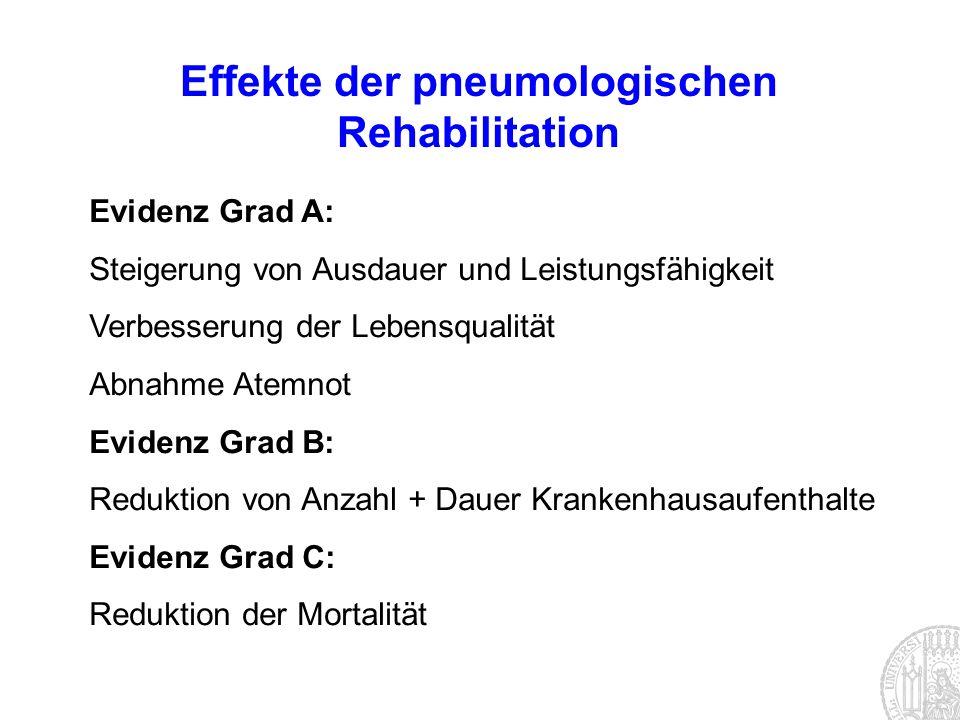 Effekte der pneumologischen Rehabilitation Evidenz Grad A: Steigerung von Ausdauer und Leistungsfähigkeit Verbesserung der Lebensqualität Abnahme Atem