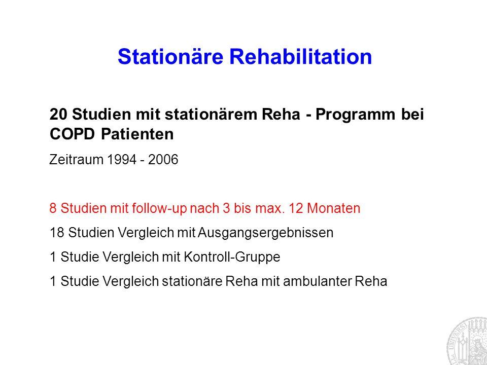 20 Studien mit stationärem Reha - Programm bei COPD Patienten Zeitraum 1994 - 2006 8 Studien mit follow-up nach 3 bis max. 12 Monaten 18 Studien Vergl