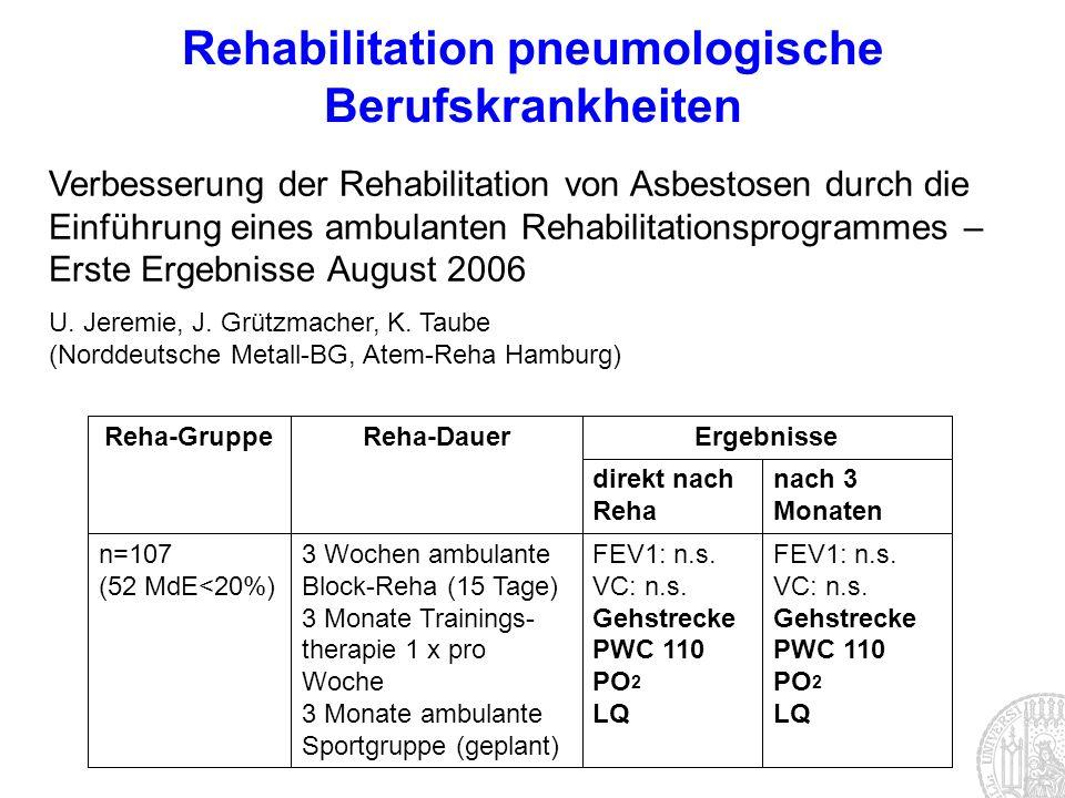 Rehabilitation pneumologische Berufskrankheiten Verbesserung der Rehabilitation von Asbestosen durch die Einführung eines ambulanten Rehabilitationspr