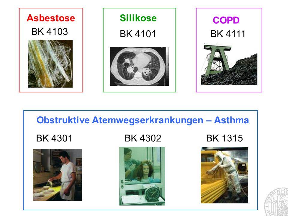 COPD BK 4111 BK 4301BK 4302BK 1315 Obstruktive Atemwegserkrankungen – Asthma Silikose BK 4101 BK 4103 Asbestose