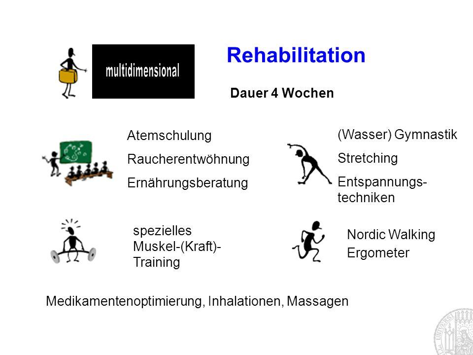 Rehabilitation Dauer 4 Wochen Atemschulung Raucherentwöhnung Ernährungsberatung Nordic Walking Ergometer (Wasser) Gymnastik Stretching Entspannungs- t