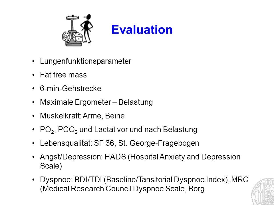 Evaluation Lungenfunktionsparameter Fat free mass 6-min-Gehstrecke Maximale Ergometer – Belastung Muskelkraft: Arme, Beine PO 2, PCO 2 und Lactat vor