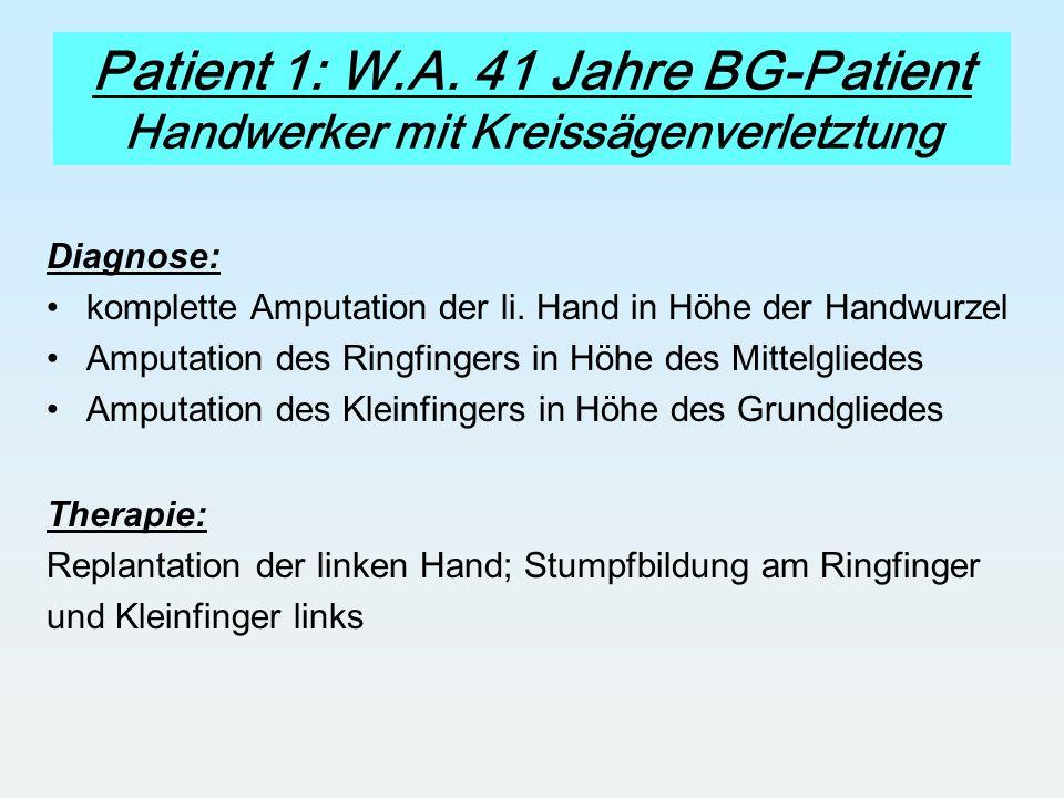Patient 1: W.A. 41 Jahre BG-Patient Handwerker mit Kreissägenverletztung Diagnose: komplette Amputation der li. Hand in Höhe der Handwurzel Amputation