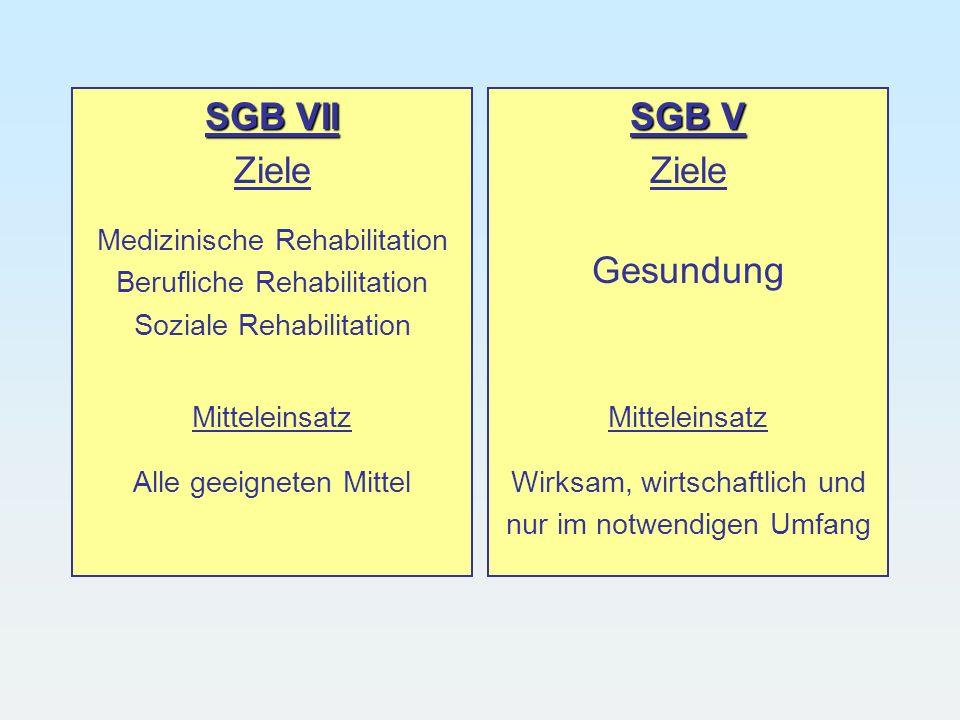 SGB VII Ziele Medizinische Rehabilitation Berufliche Rehabilitation Soziale Rehabilitation Mitteleinsatz Alle geeigneten Mittel SGB V Ziele Gesundung