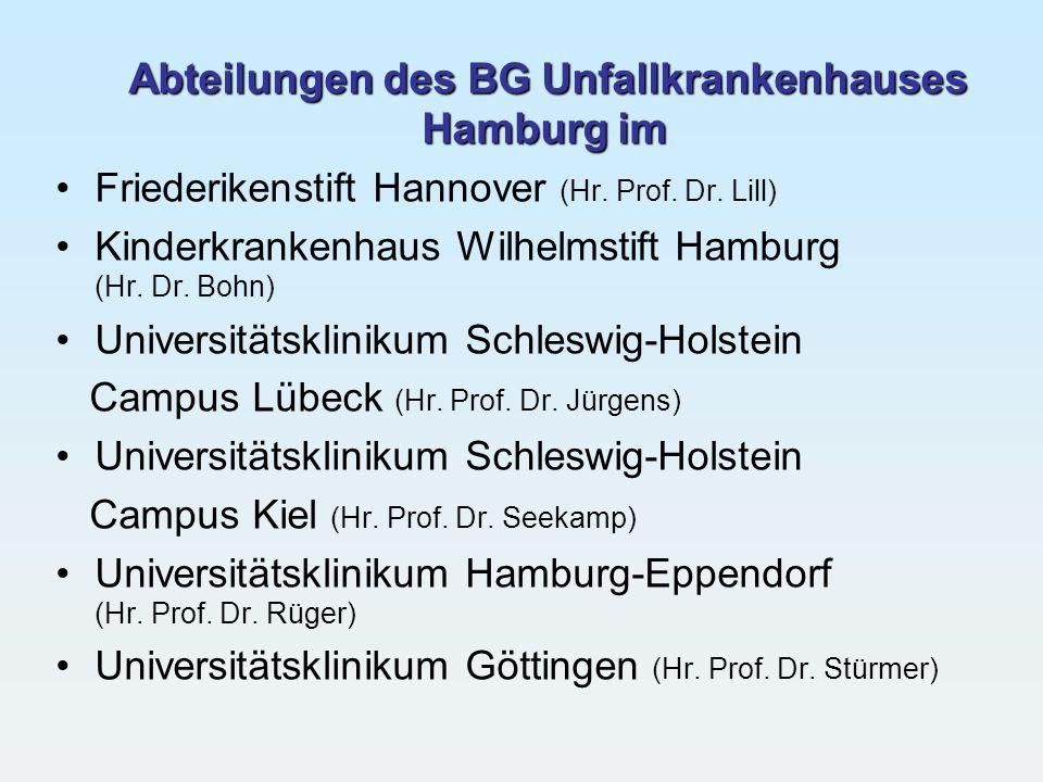 Abteilungen des BG Unfallkrankenhauses Hamburg im Friederikenstift Hannover (Hr. Prof. Dr. Lill) Kinderkrankenhaus Wilhelmstift Hamburg (Hr. Dr. Bohn)