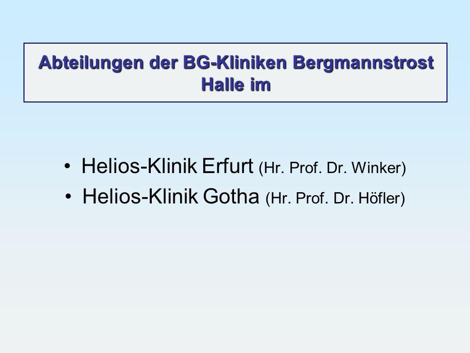Abteilungen der BG-Kliniken Bergmannstrost Halle im Helios-Klinik Erfurt (Hr. Prof. Dr. Winker) Helios-Klinik Gotha (Hr. Prof. Dr. Höfler)