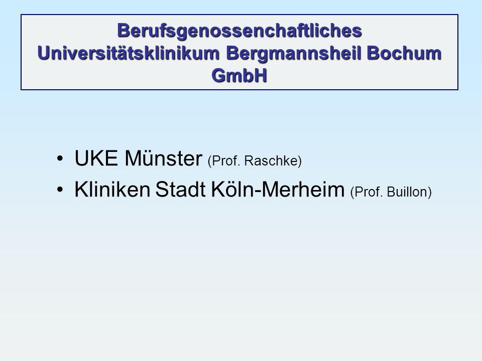 Berufsgenossenchaftliches Universitätsklinikum Bergmannsheil Bochum GmbH UKE Münster (Prof. Raschke) Kliniken Stadt Köln-Merheim (Prof. Buillon)