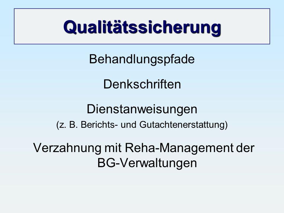 Qualitätssicherung Behandlungspfade Denkschriften Dienstanweisungen (z. B. Berichts- und Gutachtenerstattung) Verzahnung mit Reha-Management der BG-Ve