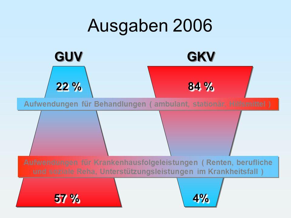 22 % 84 % 57 % 4%4% GUV GKV Aufwendungen für Behandlungen ( ambulant, stationär, Hilfsmittel ) Aufwendungen für Krankenhausfolgeleistungen ( Renten, b