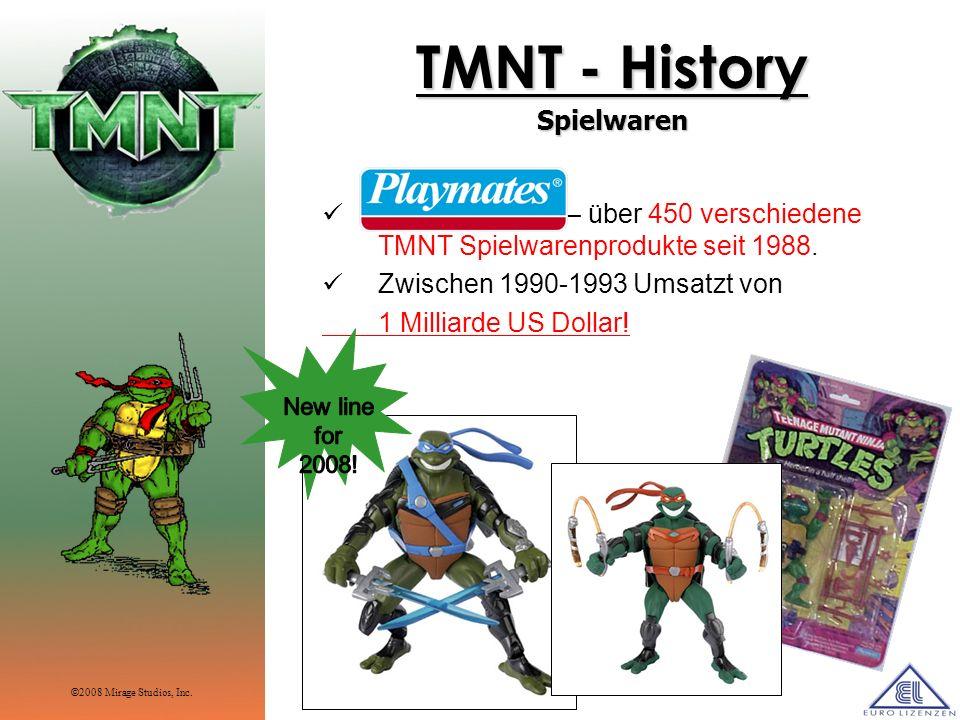 TMNT - History Spielwaren Playmates Toy – über 450 verschiedene TMNT Spielwarenprodukte seit 1988. Zwischen 1990-1993 Umsatzt von 1 Milliarde US Dolla