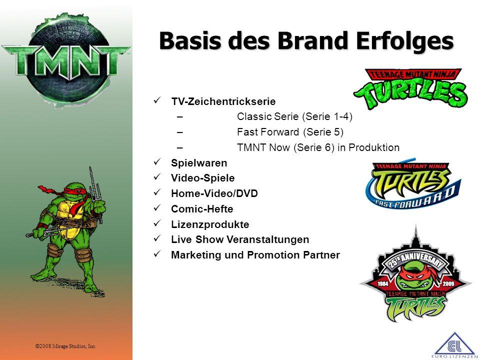 Basis des Brand Erfolges TV-Zeichentrickserie – Classic Serie (Serie 1-4) – Fast Forward (Serie 5) – TMNT Now (Serie 6) in Produktion Spielwaren Video